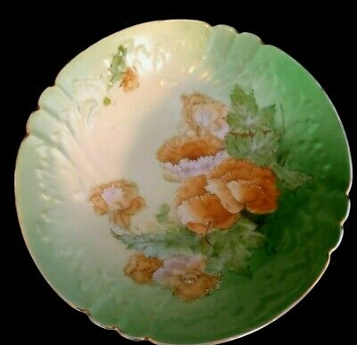 Antique Vintage Porcelain Hand Painted Plate German Green Orange