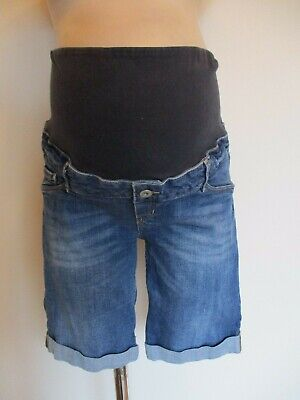 H&M Mama Maternity Blue Denim Over Bump Jeans Shorts Size 6