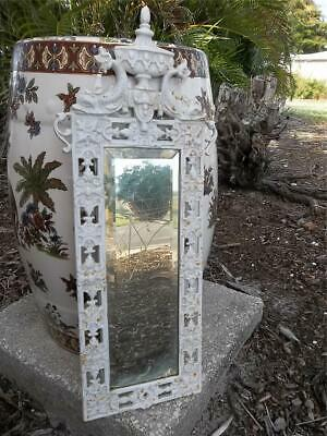Antique Rococo Dolphin & Urn Metal Beveled Glass Wall Mirror