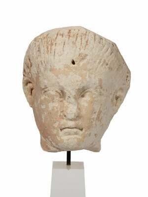 Ancient Roman Egypt Limestone head of a Youth. Size 5 1/2 inches high