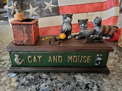 Antique Reproduction Spring Loaded Kids Toy Cat And Mouse Must See