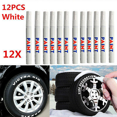 12X White Waterproof Permanent Car Tyre Tire Tread Paint Marker Pen Tire Pe M4R3
