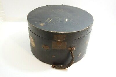 Antique Leather Over Wood Large Size Round Hat Box With Latches W/ Old Stickers