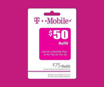T-Mobile Prepaid $50 Refill Top-Up Prepaid Card , AIR TIME PIN / RECHARGE