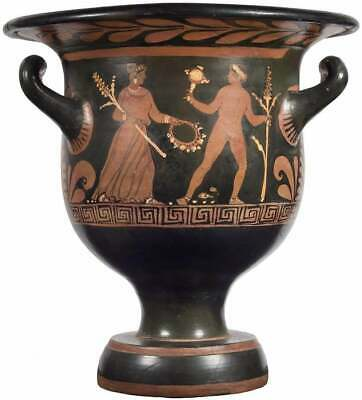 Ancient Apulian Red Figured Bell Krater circa 340-320 BC.