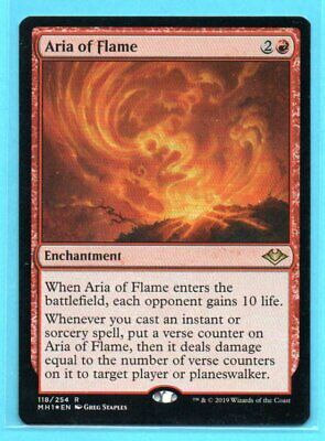x1 Magic: The Gathering Modern Horizons ARIA OF FLAME Foil - 118/254 - UNPLAYED!