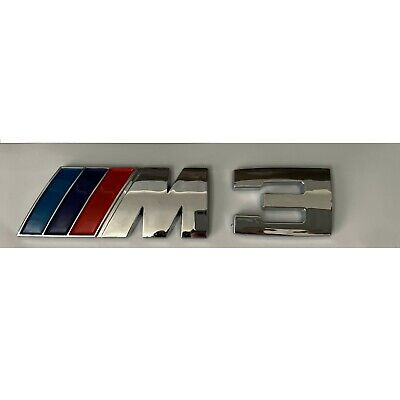 BMW M3 Silver Chrome Blue Red Boot Rear Emblem Badge 111x28mm