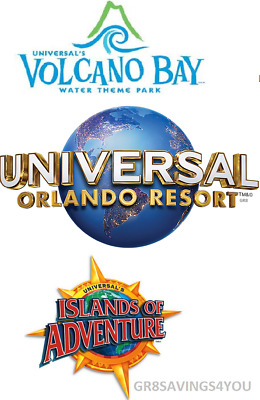 Save On 2 Universal Studios Orlando 3 Park 3 Day Pk To Pk Tickets W/ Volcano Bay