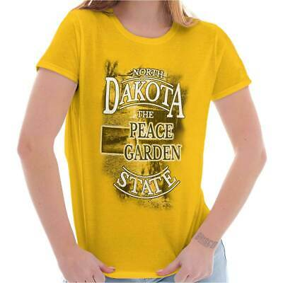 North Dakota Peace Garden State Map Tourist Tees Shirts Tshirts For Womens