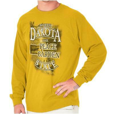 North Dakota Peace Garden State Map Tourist Long Sleeve Tees Shirts T-Shirts