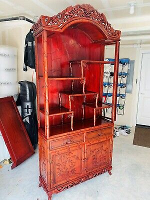 Beautiful 2-Piece Chinese Hand Carved Red Rosewood Book Shelf/Display Cabinet
