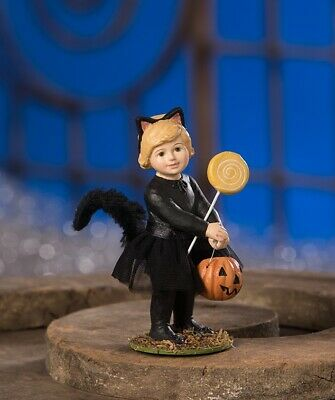 Bethany Lowe Kat Black Cat Trick or Treater Girl Halloween Figure TD8574