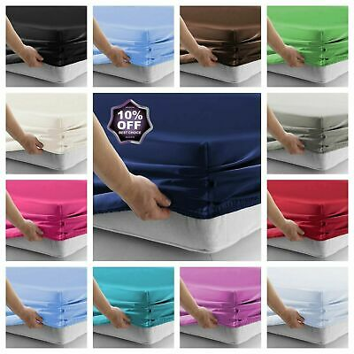 Plain Poly/Cotton 16'' / 41CM EXTRA Deep Fitted Bed Sheet Single Double King