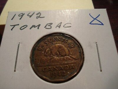 TOMBAC - 1942 - Canada - 5 cent coin - Canadian nickel - circulated