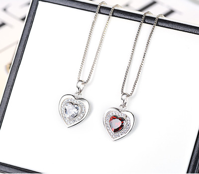 925 Sterling Silver Red Ruby Heart Cubic Zirconia Pendant Box Chain Necklace J2