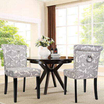 Warmiehomy Retro Floral Linen Fabric 2x Dining Chairs Side Chair Kitchen Bedroom