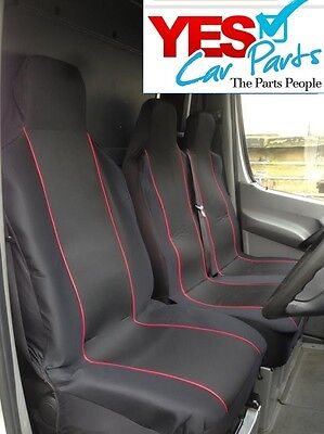 Ford Transit Minibus (2000-0N) Deluxe Red Piping Van Seat Covers 2+1