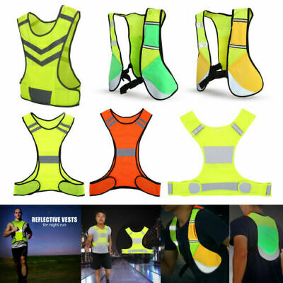 Adjustable Reflective Vest High Visibility Safety Warning Straps Cycling Running
