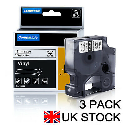 3PK Replace DYMO Industrial 1/2 Permanent Vinyl Label Tape Rhino 4200 5000 Maker