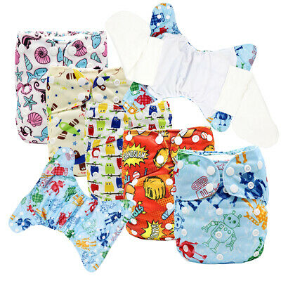 MABOJ AIO Cloth Diapers 5PCS Reusable and Waterproof Nappy One Size Cloth Nappy
