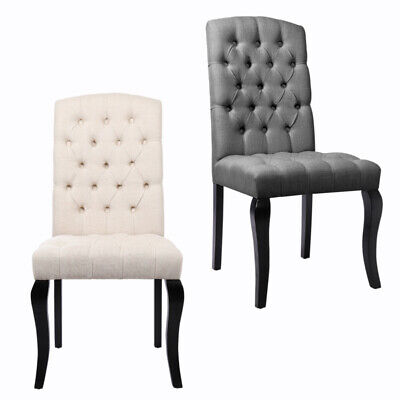 2/4 x Linen Fabric Dining Chairs Retro Button High Back with Black Wooden Legs
