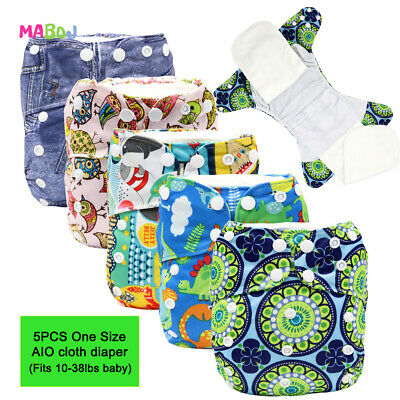 MABOJ AIO Cloth Diapers 5PCS Waterproof and Resuable Cloth Nappies All In One