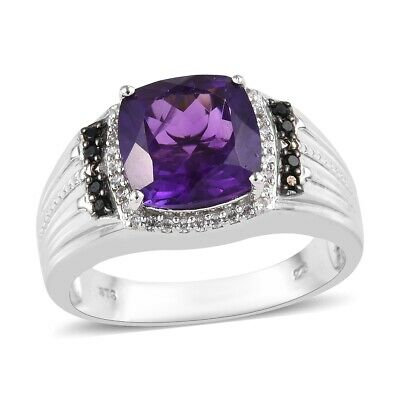 Mens Ring 925 Sterling Silver Amethyst Black Spinel Jewelry Size 14 Ct 6.1