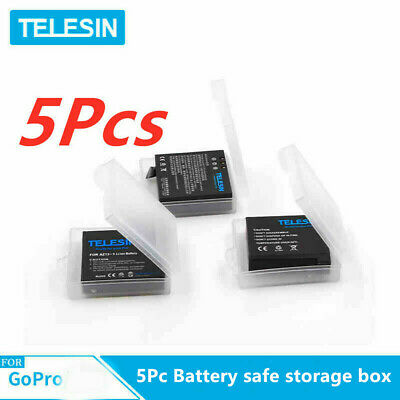 TELESIN 5Pc Battery safe storage box for Gopro hero7/6/5/4 battery Action Camera