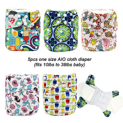 MABOJ AIO Cloth Diapers 5PCS Washable and Waterproof Cloth Nappy With Inserts