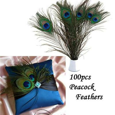 New Lot 100 Natural Real Peacock Tail Eye Feathers 23-30cm/10-12Inches Ornament