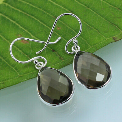 FS Real SMOKY QUARTZ Gems 925 Sterling Silver Stunning Earrings ! Top Gift Store