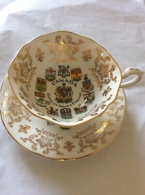 Stunning Paragon Cabinet Canada Coat Of Arms & Emblems Cup And Saucer