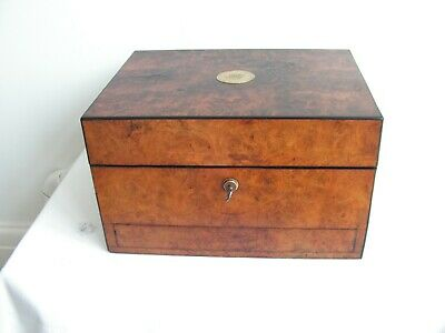 Antique Burl Walnut Jewellery Vanity With Working Brahma Lock & Key