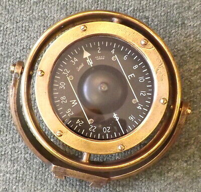Brass Ship's Gimbal Compass, Henry Browne & Son, London, Sestrel Trademark
