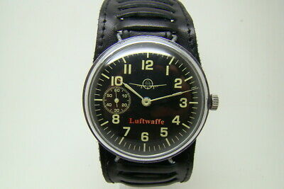 German Pilot Luftwaffe Military Watch War2 Ww2 Type Vintage Free Strap