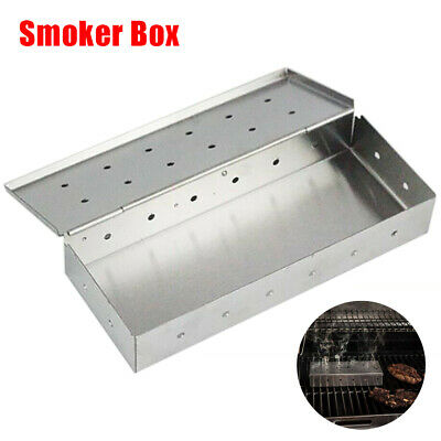 Stainless Steel Meat Smoking Smoker Box for BBQ Wood Chips Add Smokey Flavor UK