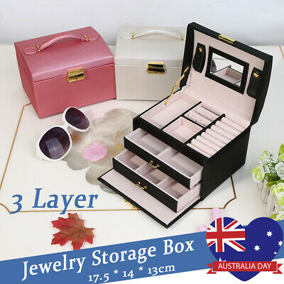 3 Layer Jewellery Box Girls Rings Storage Organiser Display Holder Travel Case