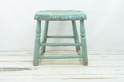 Vintage/Antique Green Wood Stool Chair Chippy Blue Green Paint