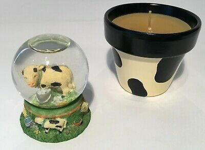 Regency Fine Arts 6cm Snow Globe with Holstein Calf, PLUS New Cow Print Candle