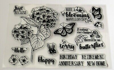 Sentiment Set of 10 Clear Stamps – BNIP Flowers Bird Free P/&P Butterflies