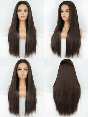"""AU 24"""" Women Lace Front Wig Straight Party Brown Full Head Synthetic Hair"""