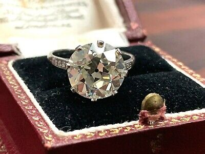 Estate Antique Art Deco Old European Cut Diamond 5.12 CTW Engagement Ring Plat.