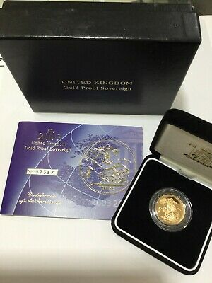2003 United Kingdom 22ct Gold Proof Sovereign George & The Dragon Boxed with CoA