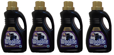 4 x Woolite Darks Denim Black Detergent Laundry Liquid With Keratin - 16 Wash 1L