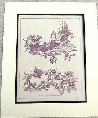 1859 Antique Print French Architectural Carving Scroll Carving Louis XIV France