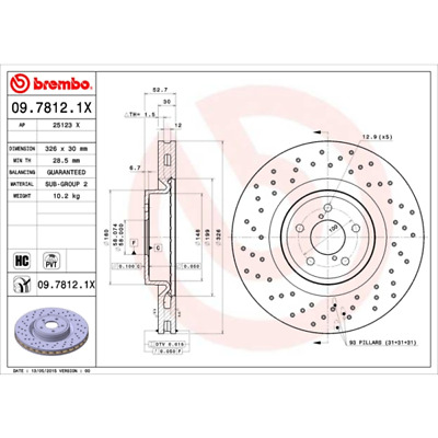 Brembo Xtra Front Vented High Carbon Drilled Brake Disc Pair Discs x2 09.A820.1X