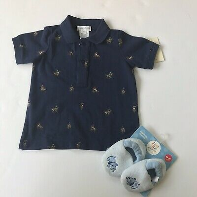 polo ralph lauren baby boy 9 months Polo shirt And baby Booties (0-6 Mons) New