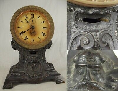 antique SETH THOMAS ALARM CLOCK small cast iron metal table mantel ORNATE