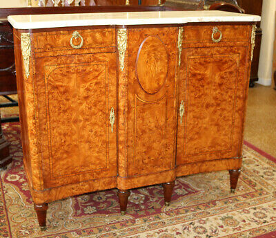 Gorgeous French Burled Walnut Marble Top Server Buffet Sideboard C1890 Restored