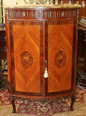 Best Satinwood Tall French Dresser Chiffonier Armoire Marble Top MINT Restored